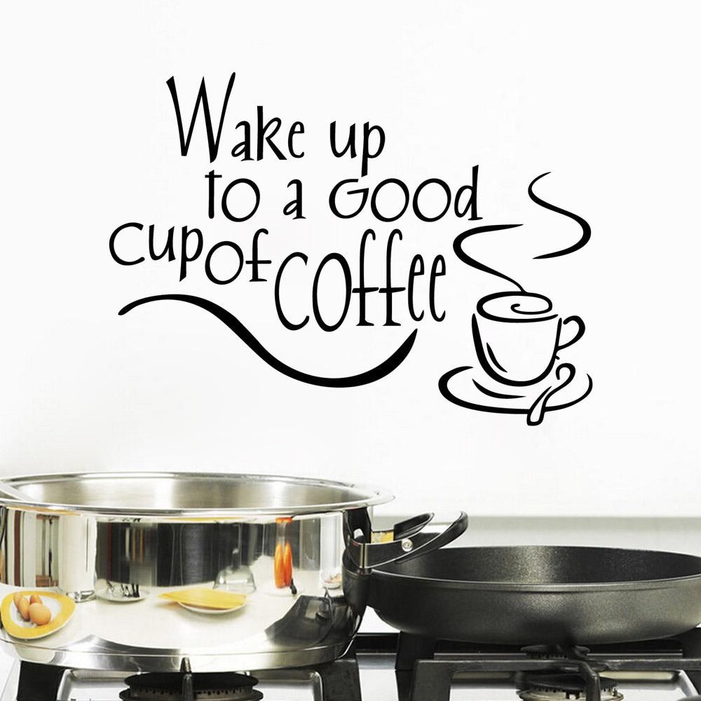 ISHOWTIENDA New Wall Stickers Arrival Coffee Mugs Tea Coffee Beautiful  Design Art Decal Vinyl Kitchen Restaurant Pub Decor