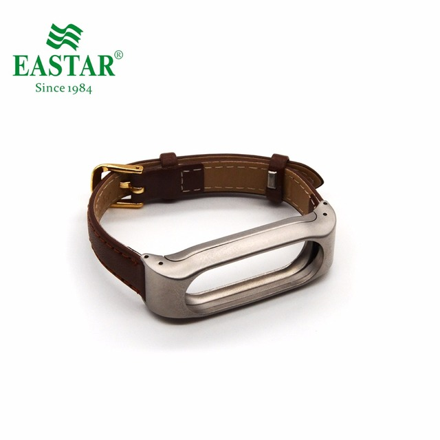 Eastar Smart Watch Accessories Leather Strap For XiaoMI Band Leather Bracelet Black Replace Wristbands Metal Strap For Mi Band 2