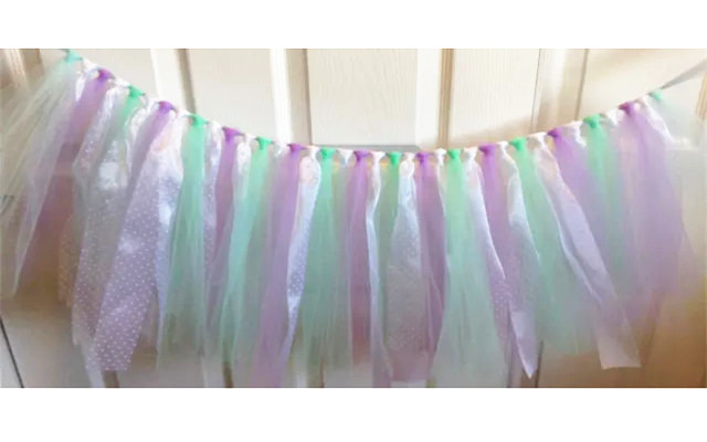 new mint and lavender tulle tutu banner baby shower highchair banner photo props party garland wedding