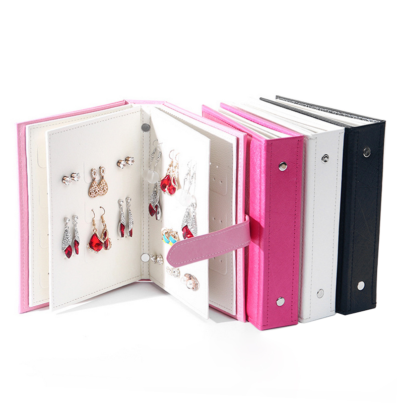 Hot Sale Women Stud Earrings Collection Book PU Leather Earring Storage Box Creative Jewelry Display Holder Jewellery Organizer(China)