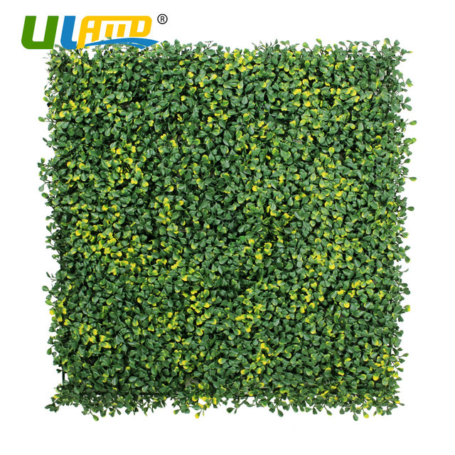 Uland plastic leaves plants panels artificial boxwood for Artificial grass indoor decoration