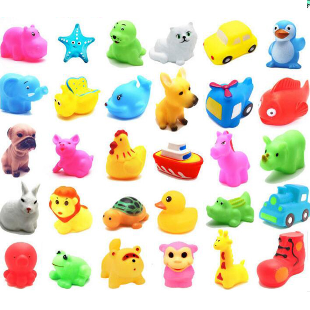 10 Pcs Mixed Animal Swimming Water Toys Colorful Soft Floating Rubber Duck Squeeze Squeaky Bathing Toy for Baby Bath Toys Random