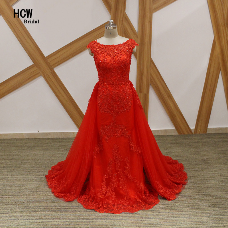 Mermaid Red   Evening     Dress   2019 New Scalloped Neck Cap Sleeve Beaded Lace Tulle Long   Evening   Gowns Elegant Arabic Party   Dresses