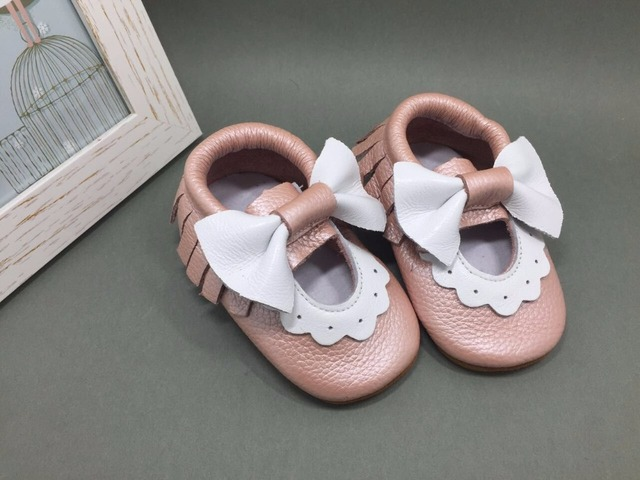New Arrived Top quality Genuine Leather Baby Moccasins Maryjane bow fringe Baby girls dress Newborn First Walker soft sole shoes
