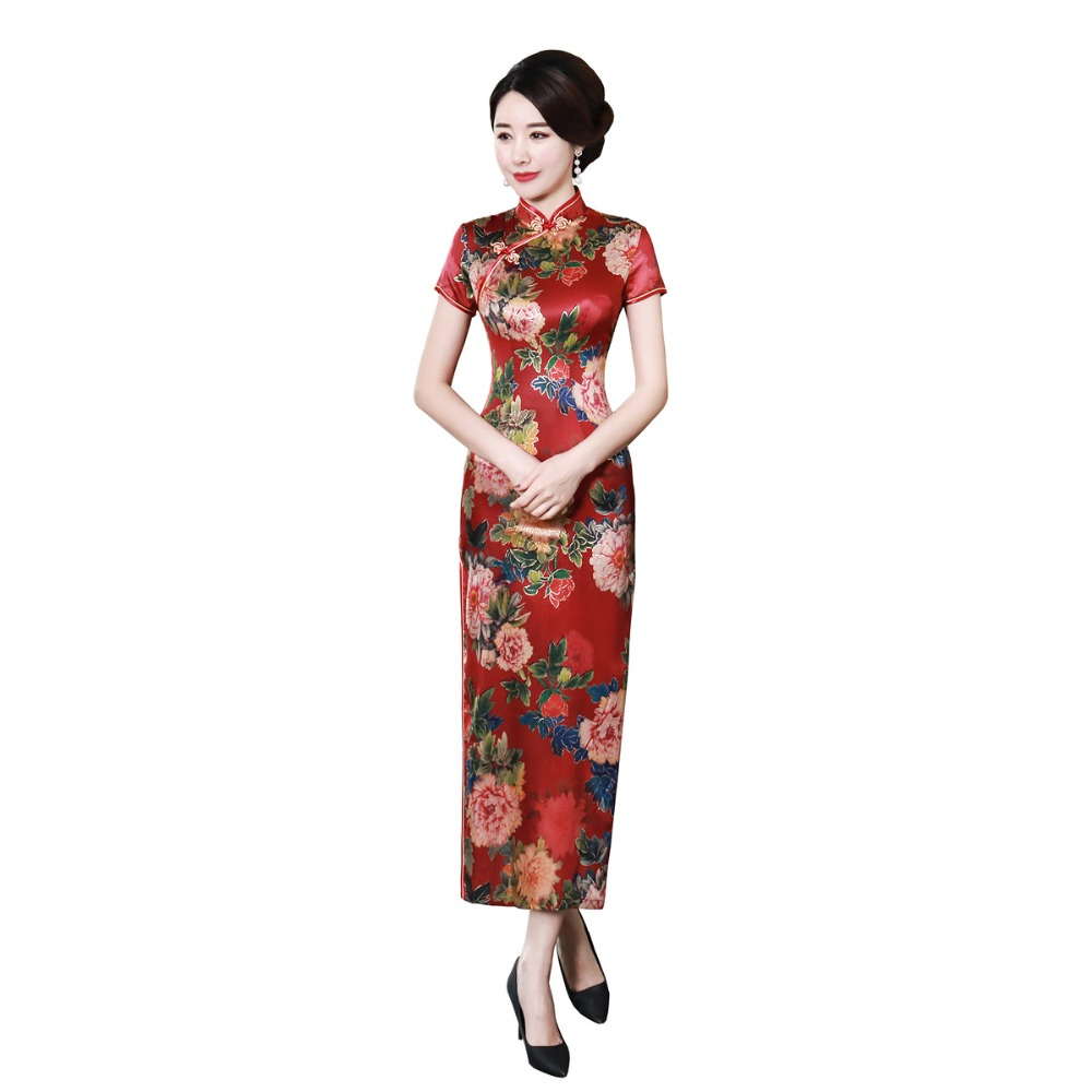 Shanghai Story Chinese Button Long Qipao Dress chinese style Faux Silk cheongsam Oriental Dress