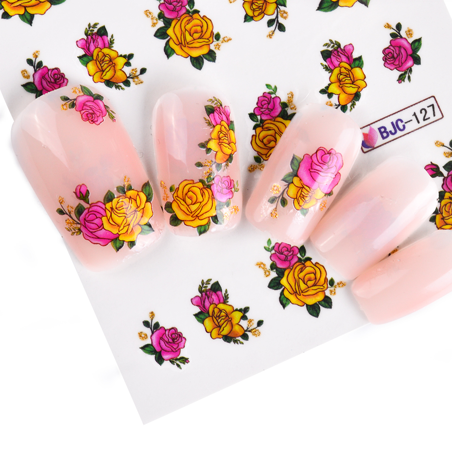 Image 5 - Full Beauty 55pcs Flower Glitter Nail Sticker Water Transfer Decal Decoration DIY Adhesive Tips Manicure Nail Art Decals CHBJC55-in Stickers & Decals from Beauty & Health