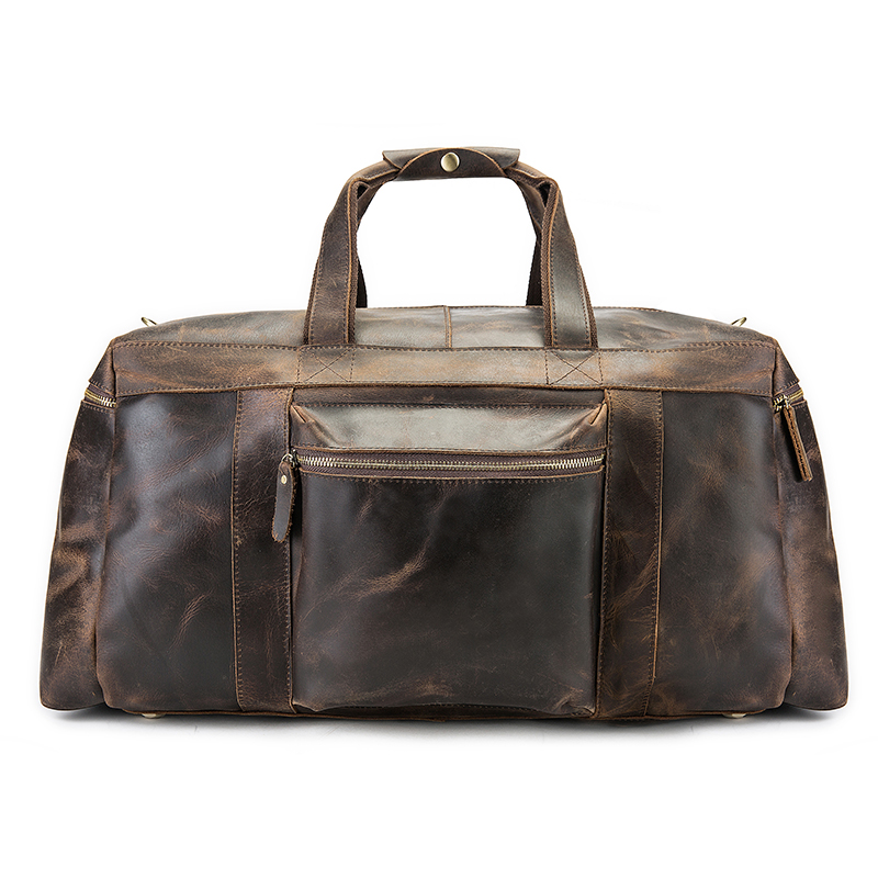 Men Vintage Crazy Horse Leather Travel Duffle Luggage Bag Male Cowhide Genuine Leather Large Weekend Overnight