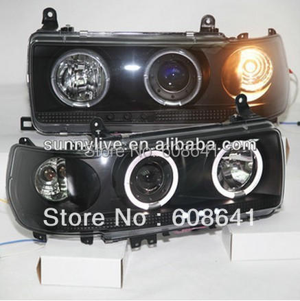 For TOYOTA Prado 4500 LC80 FJ80 LED Angel Eyes Headlight 1990-1997 year Black Color