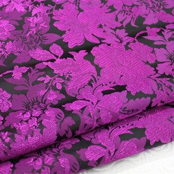 CF162 1 ярд фиолетовый, черный Florals китайский Ципао шелковые ткани китайский Стиль парчи жаккардовые ткани для женское платье ткань для шить