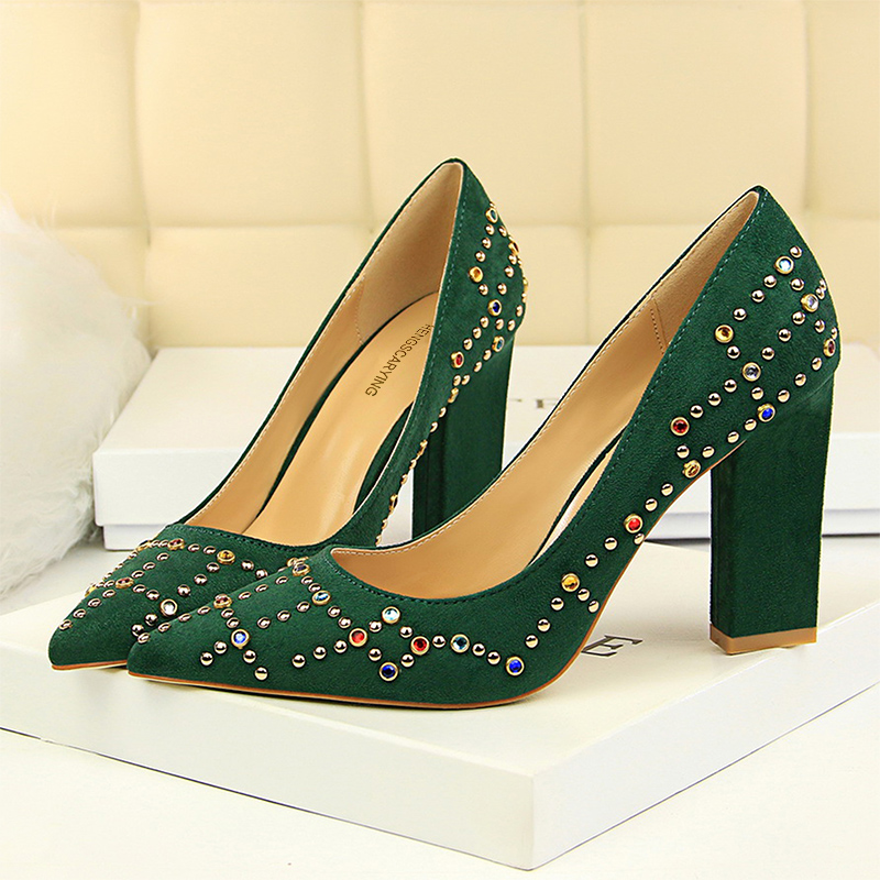 Elegant Pointed Toe Crystal Block 9cm High Heels Pumps