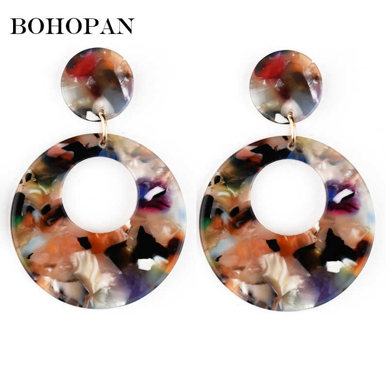 2018 New Acrylic Drop Earrings Geometric Round Hollow Multicolor Dangle Fashion Women Leopard Print Earrings Party Jewelry Gifts