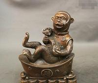 למכור חם 7 נחושת ברונזה המשמח פנג שואי סין YuanBao עושר מטבעות קוף Ruyi פסל מהיר