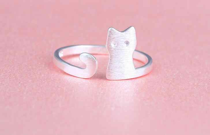 Fashion Cartoon Sliver Plated Open Adjustable Cat Ring For Lovely Girl Women statement Animal Jewelry Child Gifts