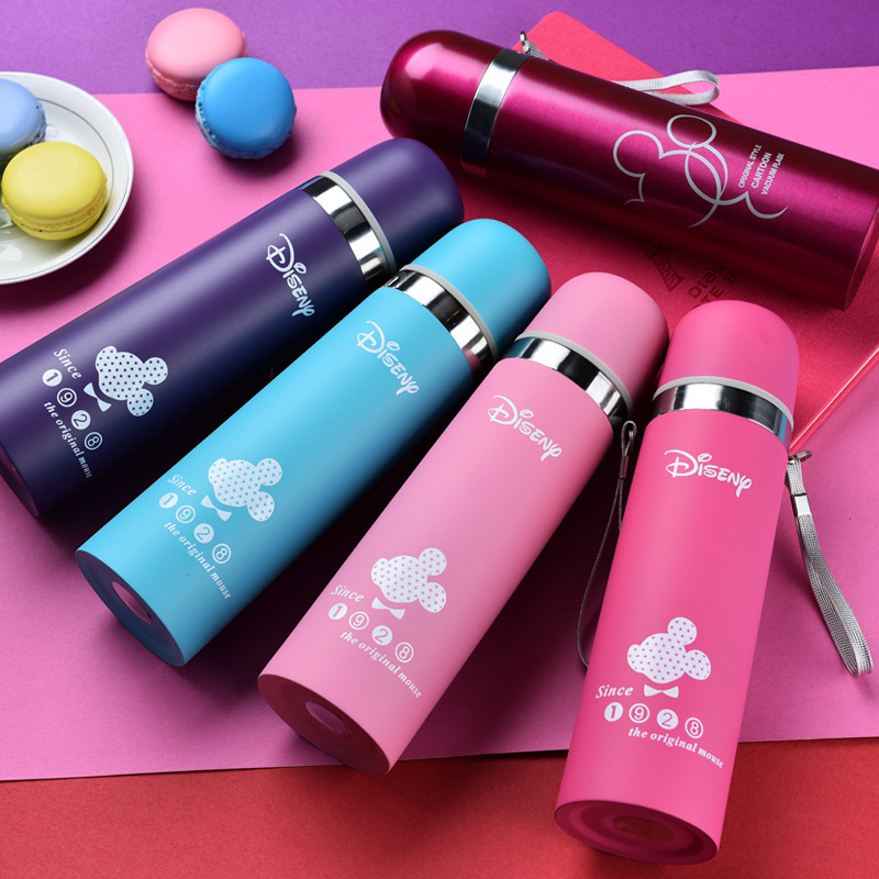 Disney Mickey Mouse 500ml Children Thermos Cup Cartoon Student Vacuum Flasks Bottle Water Cup Star Kettle Girl Boy Cup