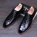 Hombre de alta calidad de oficina de boda cómodo zapatos bullock-punta estrecha oxfords zapato de cuero de vaca cocodrilo patrón adolescente