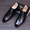high quality man office wedding comfortable cow leather bullock shoes pointed-toe oxfords shoe alligator pattern teenage young