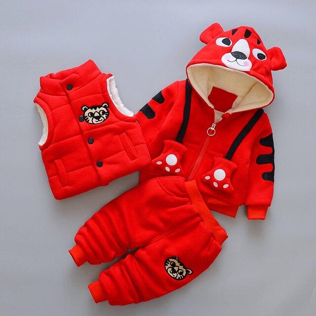 ガールズボーイズ服セット秋冬パーカー + ベスト + パンツ3本子供スポーツ服セットフード付きコートスーツ