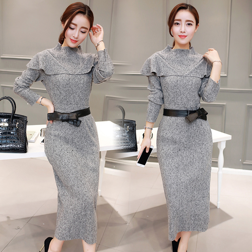 Autumn Knitted Top And Skirt Two Piece Set Big Size Ensemble Femme Deux  Pieces Chic Ol Year-old Female Costume Conjunto Feminino 864093ce63c6