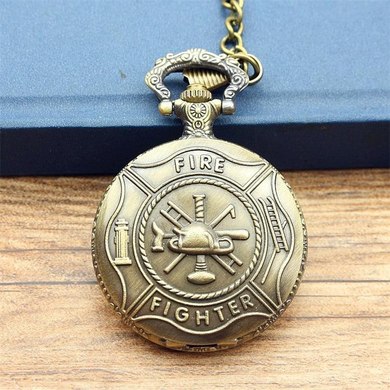 Promotion Unique Bronze Fire Fighter Control Quartz Women And Men Pocket Watch Necklace Pendant Relogio De Bo
