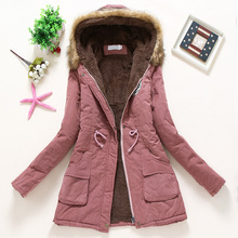 Overcoat Women Winter thick coat Warm Hooded Pockets Slim Faux Fur Parka Jacket