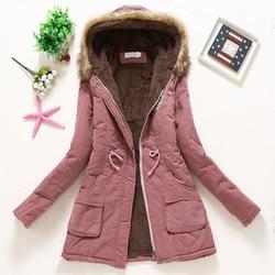 Płaszcz kobiety gruby płaszcz zimowy ciepłe z kapturem kieszenie Slim Faux futro Parka kurtka kobiet 1