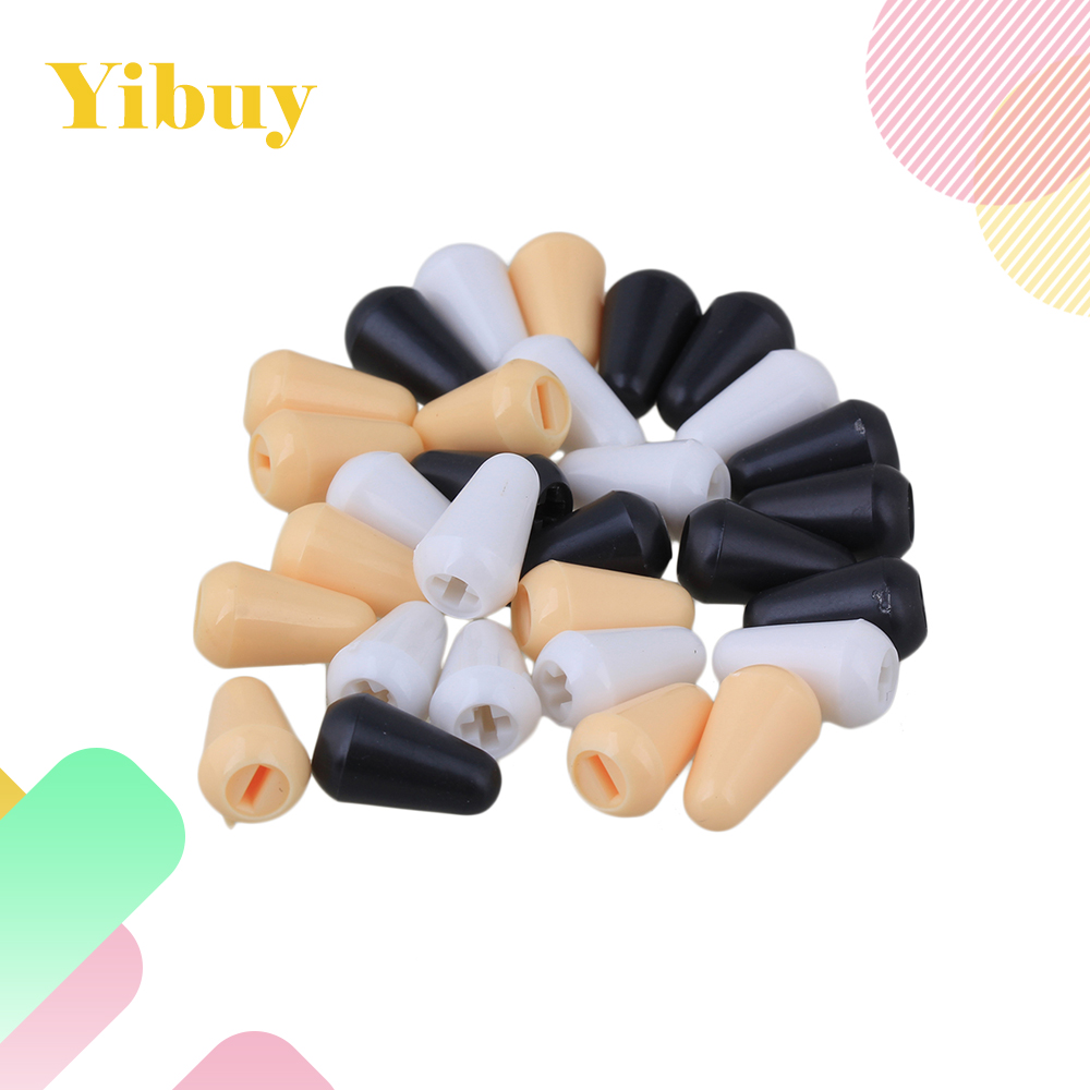 Yibuy 10 White 10 black 10 cream Tip Knob Cap 3.5mm For Guitar 5-way Switch