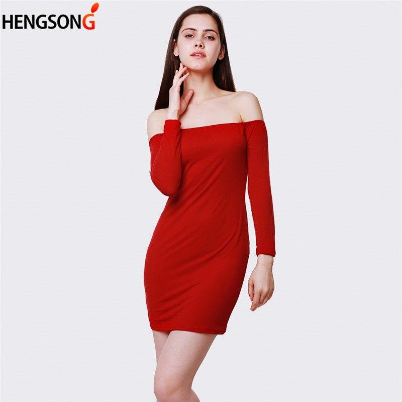 Sheath Slim Bodycon Sexy Women Dresses Long Sleeve Strapless Slash Neck Fashion Dress For Women 2019 Spring Dress