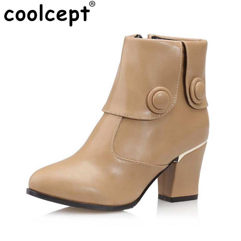 size 30-48 women high heel half short sexy boots martin winter botas fashion quality buckle warm footwear boot shoes P19941