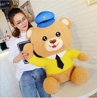 WYZHY Creative new police bear baby plush toy cute bear sofa bedside decoration to send friends and children gifts 60CM