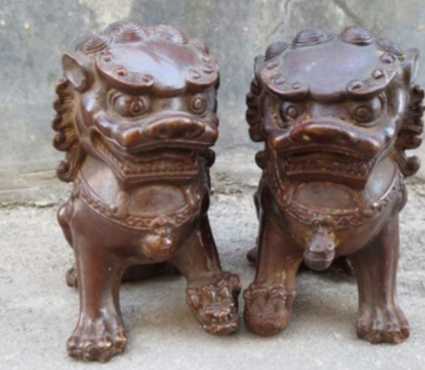 Collect 1Pair Chinese copper Guardian Lion Foo Fu Dog Statue 12*11CM/PC free shipping