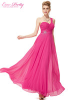 Free Shipping 08077 Elegant One Shoulder Unique Rhinestones Hot Pink Prom Chiffon Long Evening Dress For