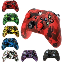 Camouflage Silicone Gamepad Cover + 2 Joystick Caps For XBox One X S Controller 2019