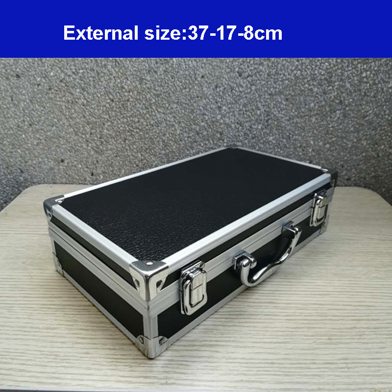 Aluminum Tool Case Portable Instrument Box Storage Tool Box With Sponge Lining Handheld Impact Resistant 30x17x8 Cm