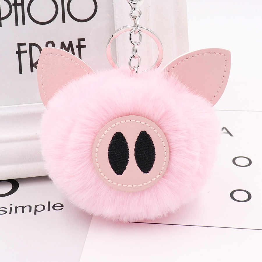 Cute Chaveiro pompom Keychain pig Key Chain Fluffy Fake Rabbit Fur Ball Women Car Bag pompon Key Ring Accessories