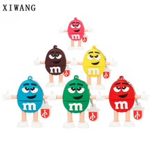 cute cartoon M & beans USB flash drive usb 2.0 4GB 8GB pen 16GB pendrive 32GB 64GB 128GB chocolate bean memory stick