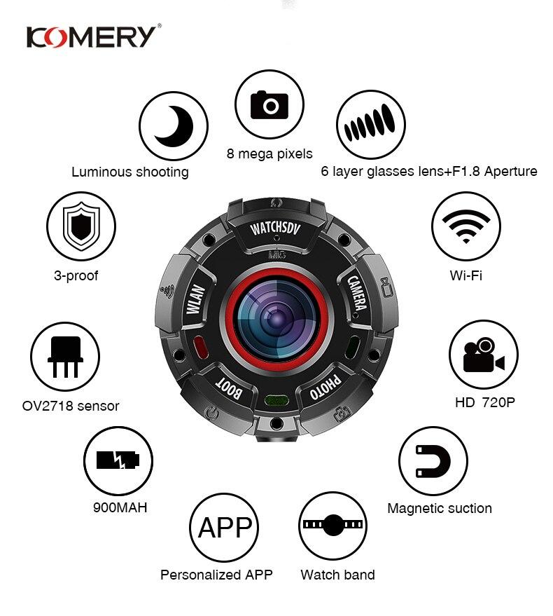 KOMERY Sport Camera HD1080P Mini Camera Support WiFi 30M Waterproof Magnetic Suction Night Version Shooting 3-proof Watch Camera
