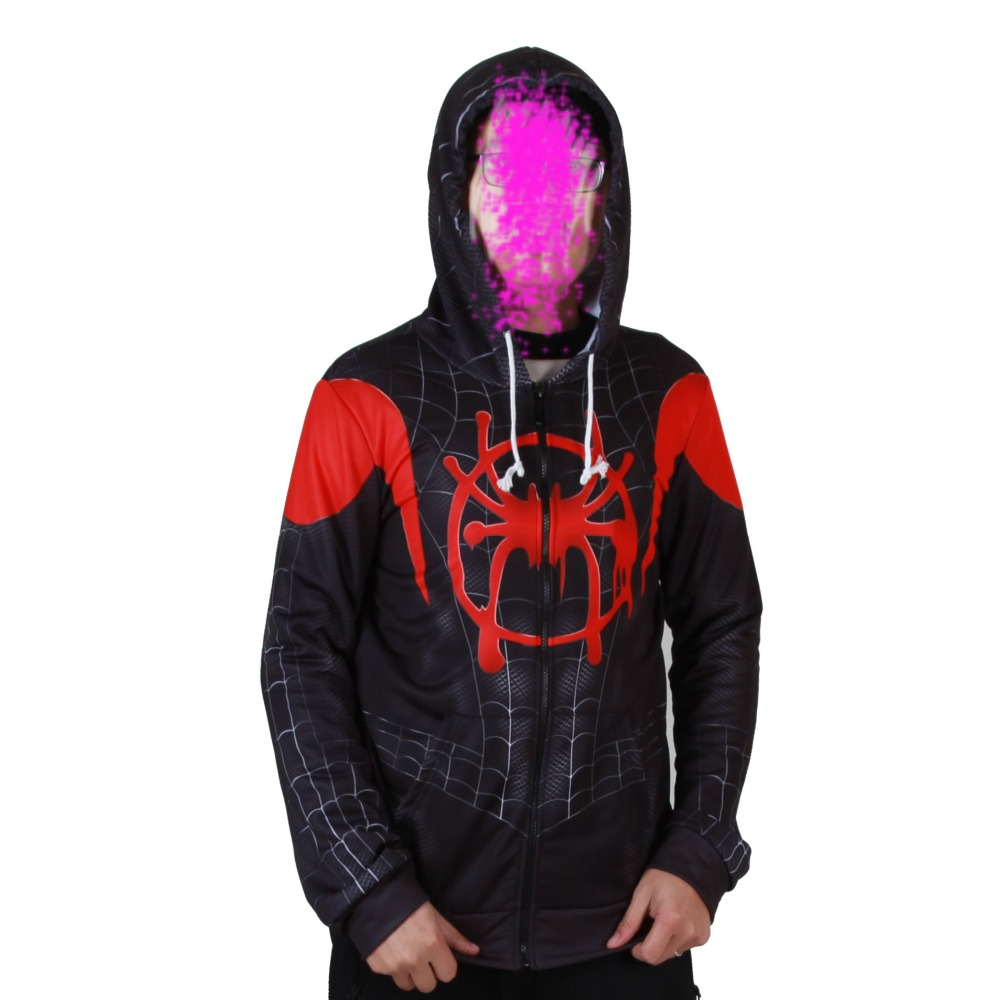 Adult Kids Spider-Man Into the Spider-Verse Miles Morales Superhero Cosplay Costumes Sweatshirt Hoodie Jacket Coat