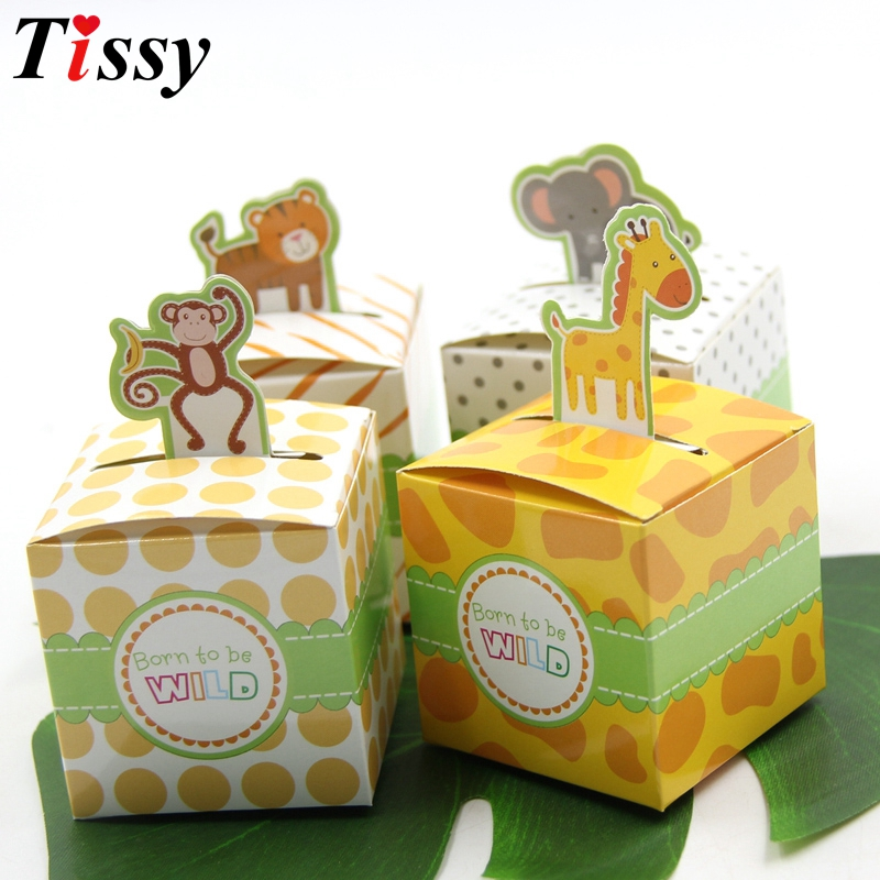 12PCS Cute 4 Types DIY Safari Animal Candy Gifts Box Boy/Girl Kids Birthday Baby Shower Favors Decoration Event & Party Supplies