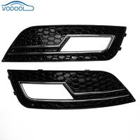 2pcs Set Car Front Bumper Bar Black Fog Lights Cover Grilles For Audi A4B9 S4 RS4