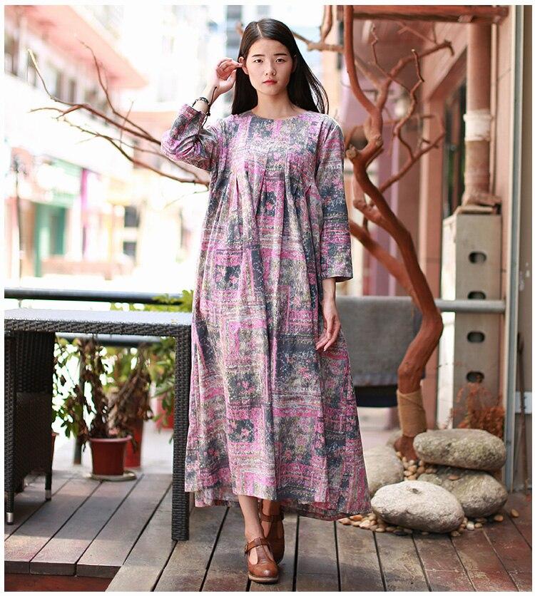 Grande taille femmes vêtements Kimono géométrique imprimé Robe Robe Longue Femme modèle abstrait avant plissé thé Robe o-cou pull