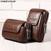 CHEZVOUS Genuine Leather Belt Bag Case For Huawei Xiaomi Sony Luxury Bag Belt Clip Pouch For
