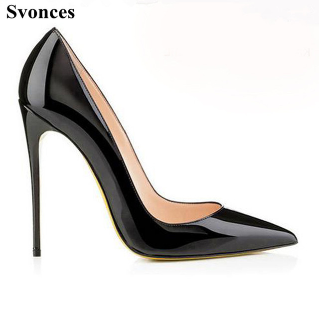 Svonces High Quality Black Patent Leather Ladies Pumps -7956