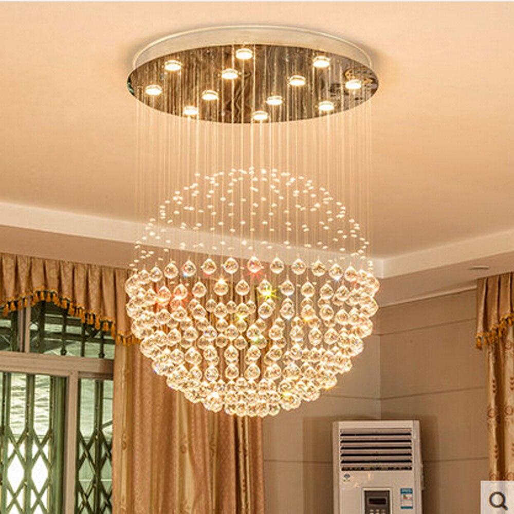 Z D80CM X hauteur 110 CM moderne rond cristal lustre pluie goutte sphère Design plafonnier pour Restaurant escalier lampes