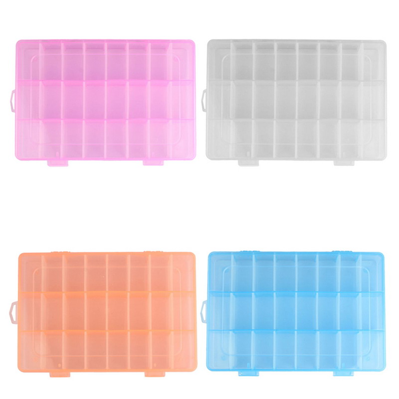 24 Grids Adjustable Transparent Jewelry Storage Box Ring Earring Drug Pill Beads Portable Plastic Organizer Case Travel Bins