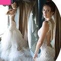 Sexy Backless Vestidos de casamento da sereia princesa vestido nupcial 2016 Long Train Sweetheart frisada vestido de noiva Vintage Vestidos