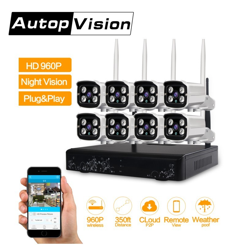 LS WIFI HD 960P Outdoor Surveillance Camera System 8CH NVR Kit CCTV Home Security Camera System Wireless WIFI IP Camera System