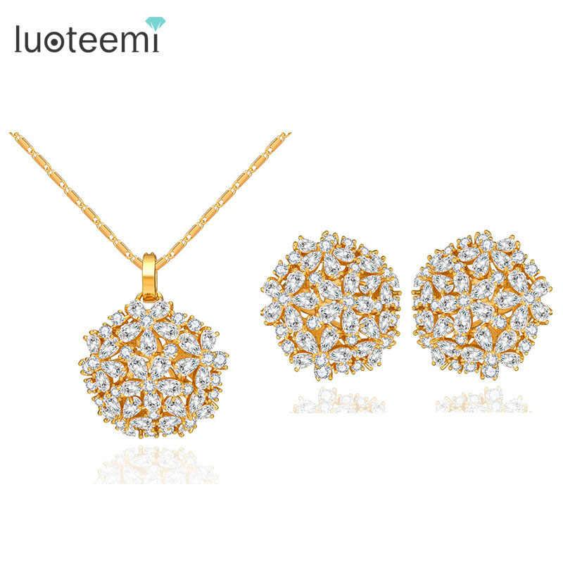 76098c753553c LUOTEEMI Brand Luxury New Fashion Clear CZ Crystal Wedding Party ...