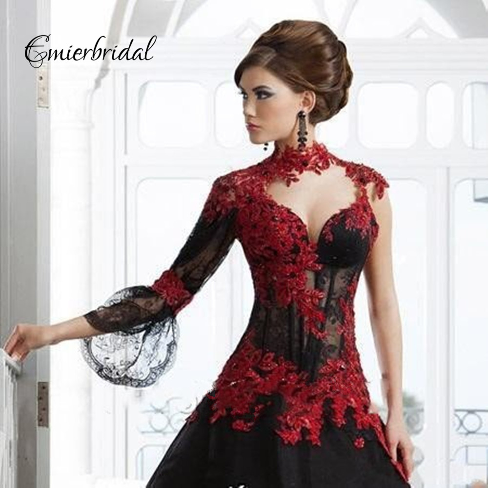Black and Red Gothic Wedding Dresses with Sleeves Promotion-Shop ...
