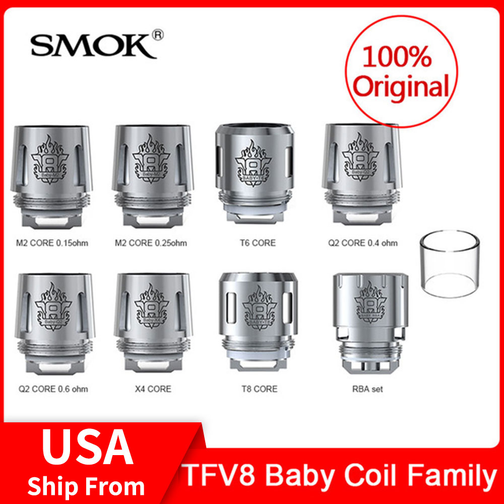 Original SMOK TFV8 Baby Coil Family Q2/T8/X4 /T6/M2/RBA Coils For TFV8 (Big) Baby/ V12 Baby Prince Tank Electronic Cigarette