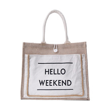 High Quality Women Handbags Canvas Tote bags Letters Decorate Reusable Cotton Capacity Shopping  Beach Bag